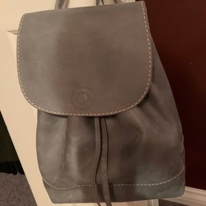 Roots Grey Leather Backpack